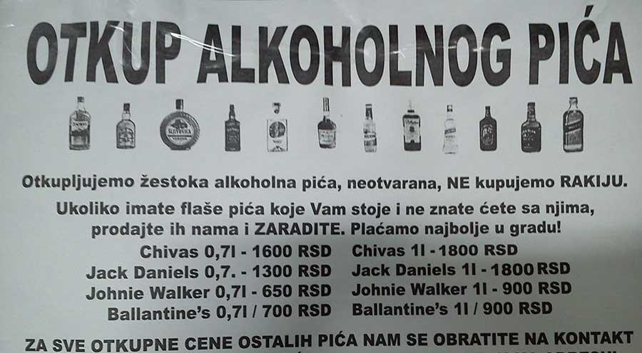 otkup alkoholnig pica