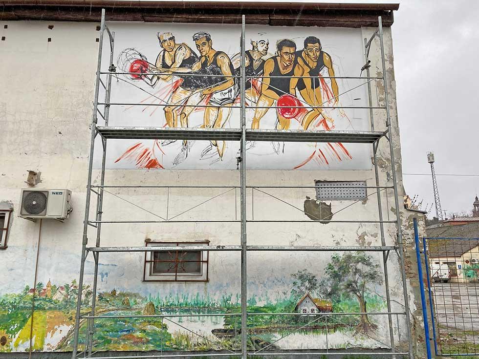 mural posvećen košarkašima proletera